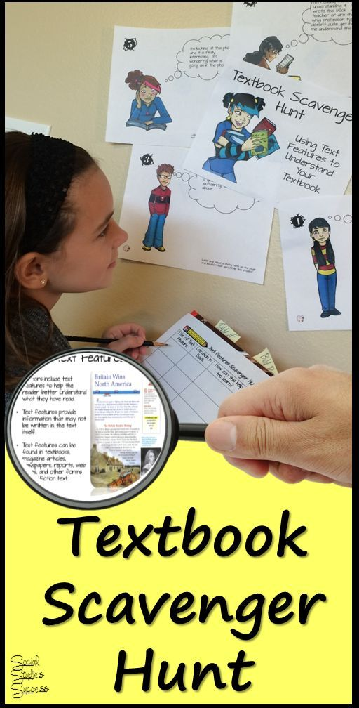 What a great way to start off the year in a Social Studies or Science class - use a Scavenger Hunt that allows students to explore the textbook and learn about different text features. This would be perfect for the first week back to school!