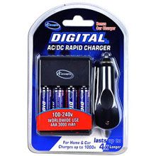 AC/DC Rapid Battery Charger w/4 3000mAh AA Ni-MH Batteries & Car Adapter