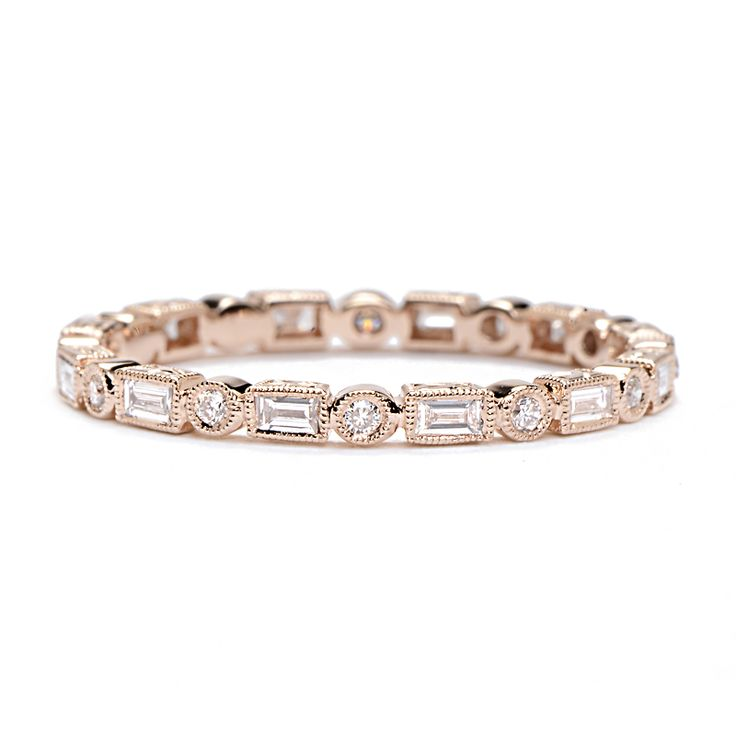 BEVERLEY K ROSE GOLD BAGUETTE AND ROUND DIAMOND BAND