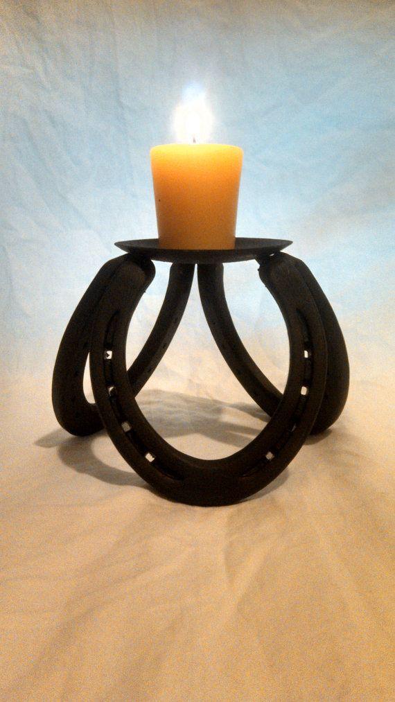 hand crafted horseshoe candle holder