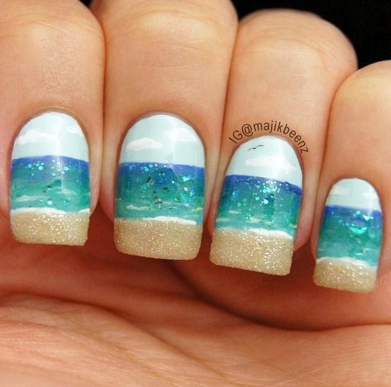 Nail the Beach! Tutorial for all kinds of fun beach nails. Cool summer look. Also for toe nails.Nails Art, Nailart, Nails Design, Nailsart, Beautiful, Summer Nails, Beach Nails, Nail Art, Ocean Nails