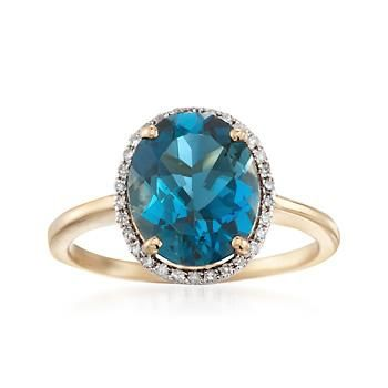 Ross-Simons - 3.70 Carat London Blue Topaz and .13 ct. t.w. Diamond Ring in 14kt Yellow Gold - #861750