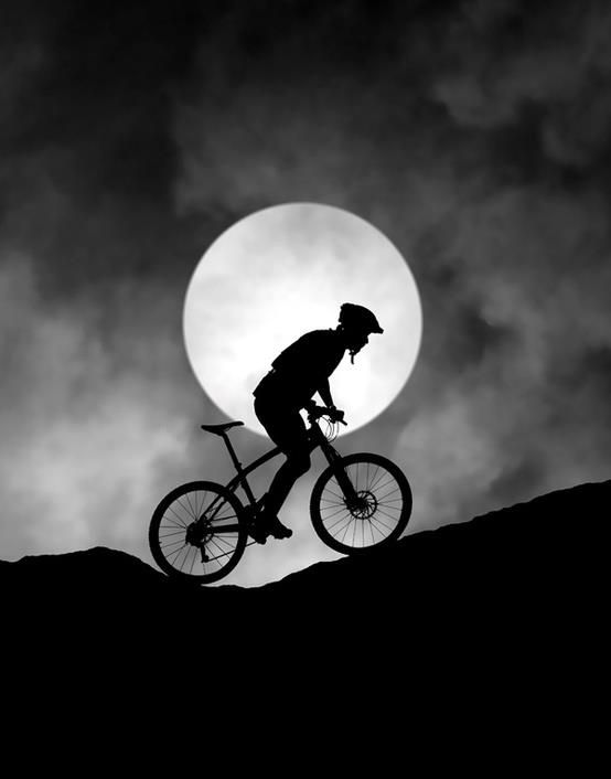 Moonlit mountain biking
