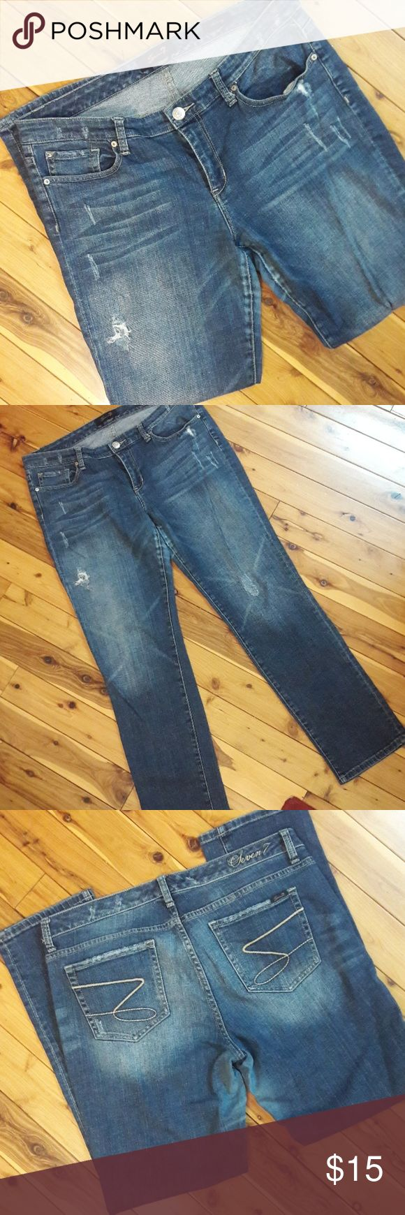 """Seven7 Skinny Distressed Dark Wash Jean, size 14 Gently used Seven7 distressed dark wash jean. hole above right knee and distressing found near pockets and left knee.  Waist: 18"""" Hips, 19.5"""" Rise, 10"""" Inseam, 30.5 Length: 40""""  Please message me with any questions.  A portion of sales are going toward disaster relief.  Thank you. Seven7 Jeans Skinny"""