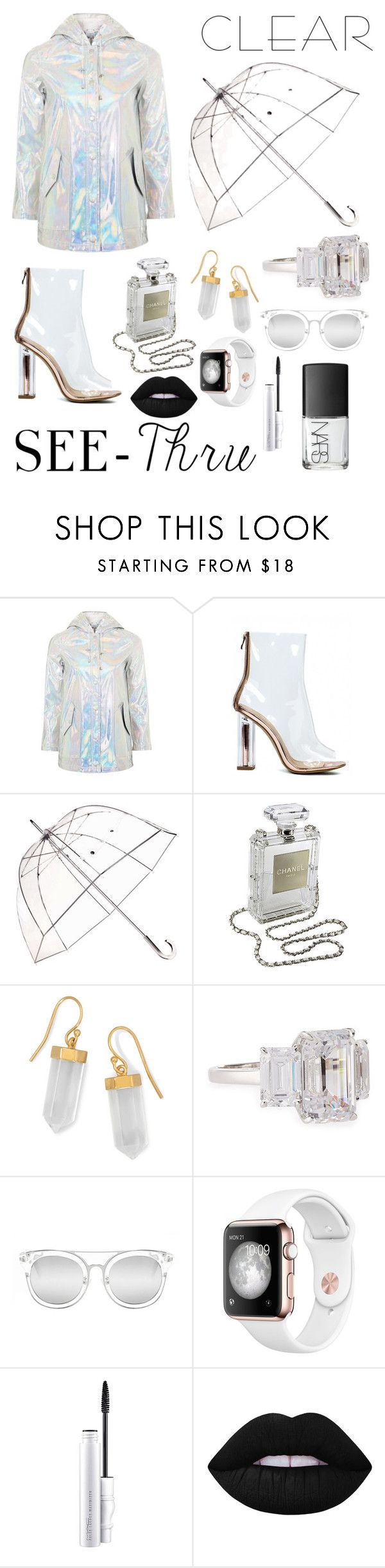 """""""Sem título #344"""" by bia-melo ❤ liked on Polyvore featuring Topshop, Totes, Chanel, BillyTheTree, Fantasia by DeSerio, Quay, MAC Cosmetics, Lime Crime, NARS Cosmetics and clear"""