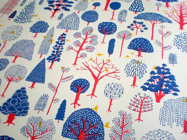 Trees by Eleanor RudgeCovers Book, Screenprint Pattern, Frames Prints, Fabrics Trees, Book Covers, Eleanor Rudge, Prints Trees, Photos Shared, Trees Screenprint