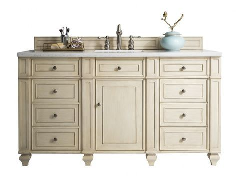 60 Inch Antique Single Sink Bathroom Vanity Vintage Vanilla Finish