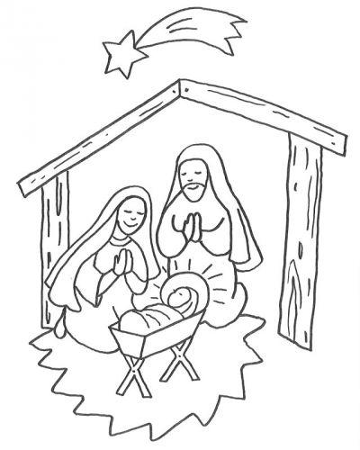 Weihnachten: Kostenlose Malvorlage: Jesus Geburt im Stall zum Ausmalen