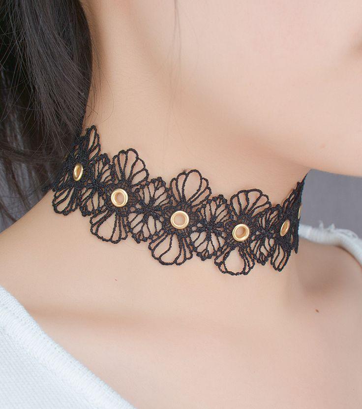 Black Lace Choker Necklaces For Women Fashion Punk Gothic Choker Handmade Neck Goth boho Jewelry
