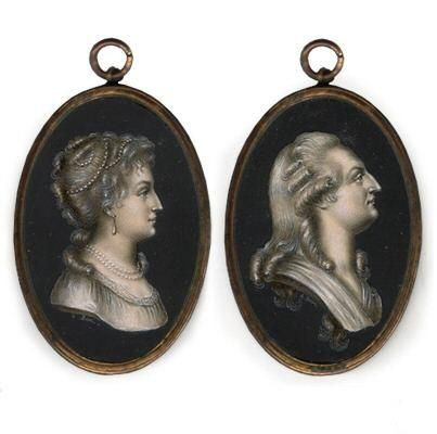 tiny-librarian:    Miniatures of Marie Antoinette and Louis XVI.