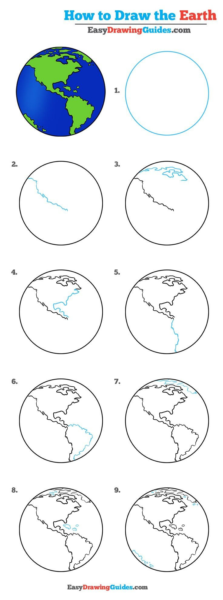 Learn How to Draw the Earth: Easy Step-by-Step Drawing Tutorial for Kids and Beginners. #Earth #drawingtutorial #easydrawing See the full tutorial at https://easydrawingguides.com/draw-earth-really-easy-drawing-tutorial/.
