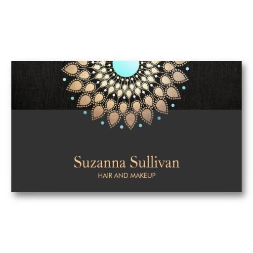 Gold Foil and Black Linen Look Cosmetology Business Card Templates