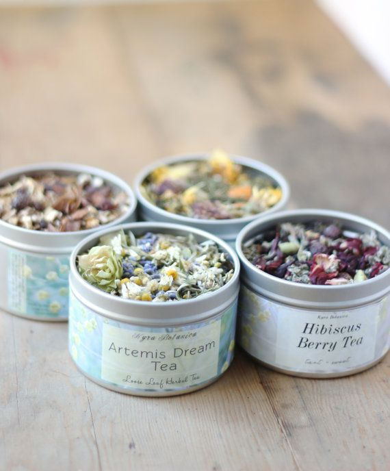 Herbal Tea Gift Set Four Tea Tins of Your Choice by KyraBotanica