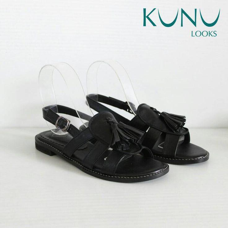 Leather sandal with tassel detail by kunu looks
