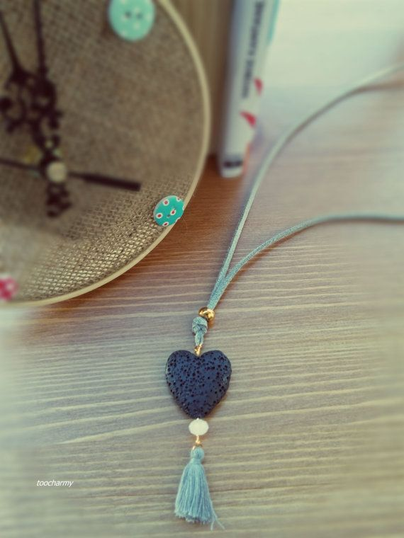 charm necklace grey suede leather with black stone by toocharmy