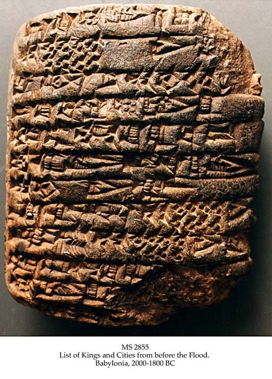 List of kings and cities from before the flood. MS in Sumerian on clay, Babylonia, 2000-1800 BC, 1 tablet, 8,1x6,5x2,7 cm, single column, 26 lines in cuneiform script.