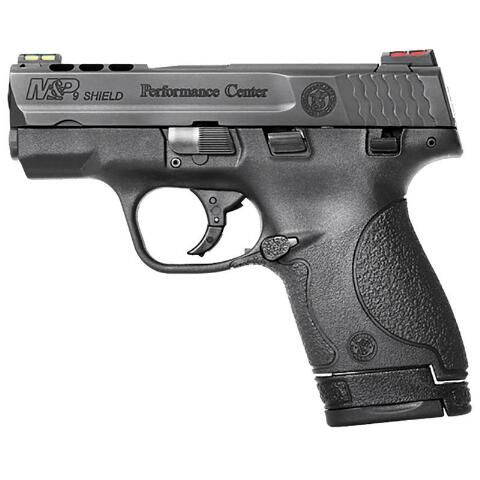 "From Smith & Wesson's Performance Center, an enhanced S&W Shield. 9mm, 3.1"" ported barrel, ported slide. Enhanced trigger, Performance Center sear and plunger, 3 palm swell back straps, scalloped rear cocking serrations & Tritium night sights"
