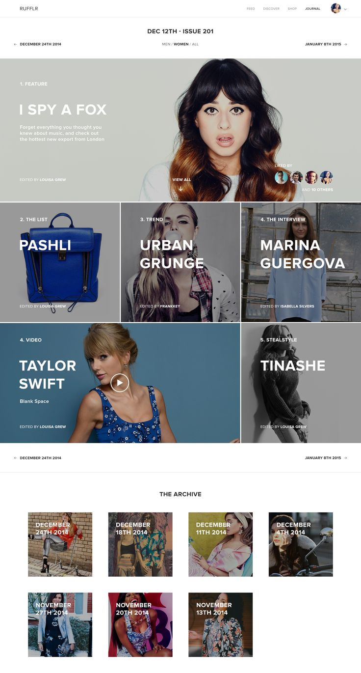 Rufflr Journal 001 Landing Page | Grid based website layout design