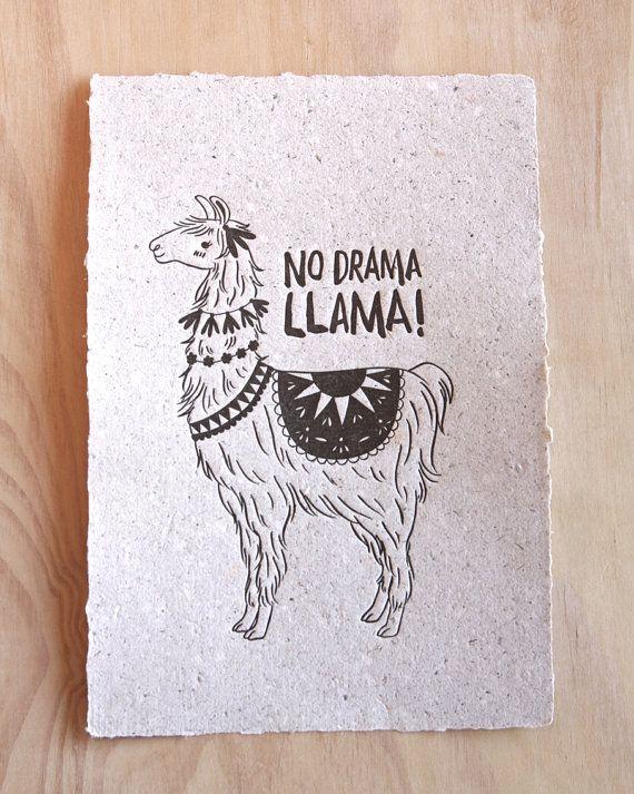 Llama letterpress print fine art print animal illustration No drama llama, hand made llama poo paper,  in gold or black WA Collaboration
