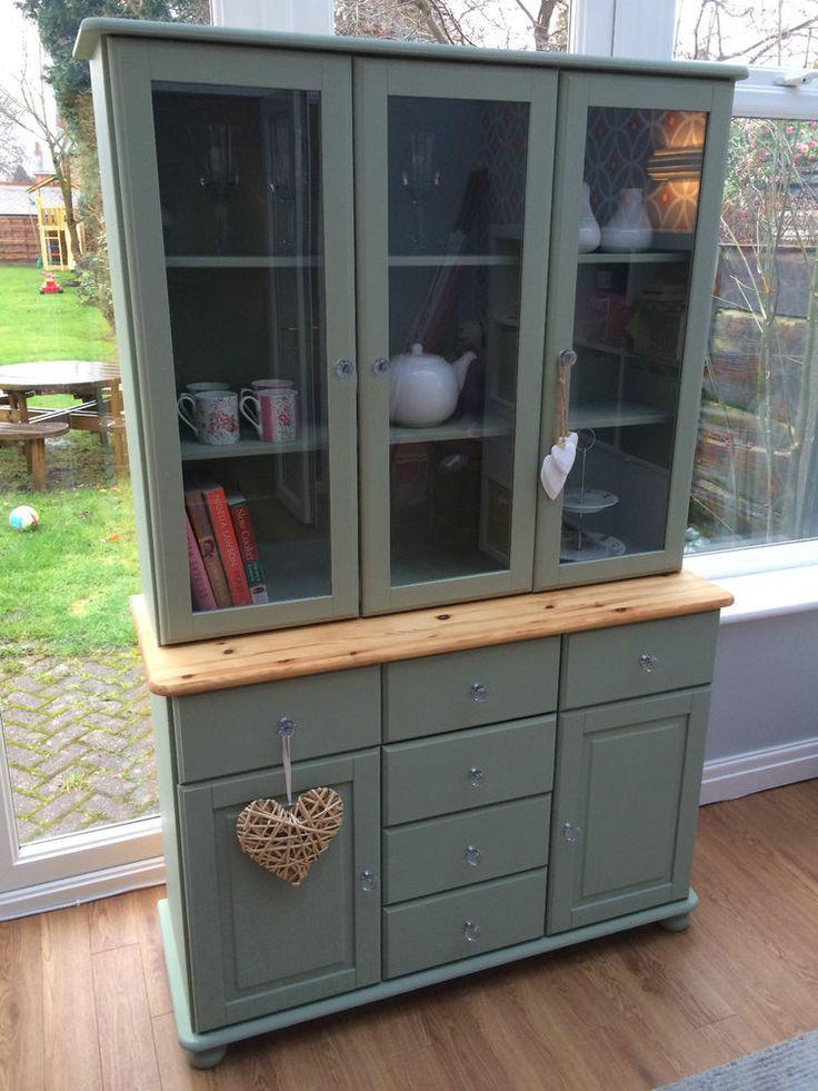 Pine Welsh Kitchen Dresser Display Cabinet - Green Chalk Paint in Home, Furniture & DIY, Furniture, Cabinets & Cupboards | eBay