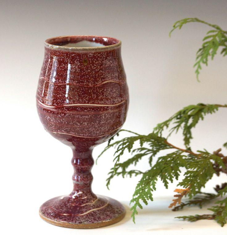 Valentine's Day perfection. All you need is the wine. Hand Thrown Pottery Stoneware Goblet Vegas Red Glaze