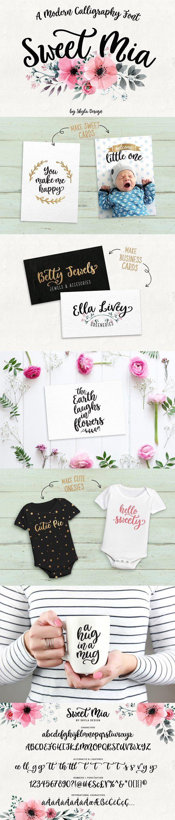 Modern calligraphy font, Sweet Mia by Skyla Design on @creativemarket