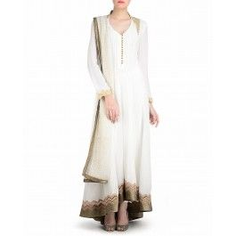 Ivory Anarkali Suit with Golden Embroidered Back