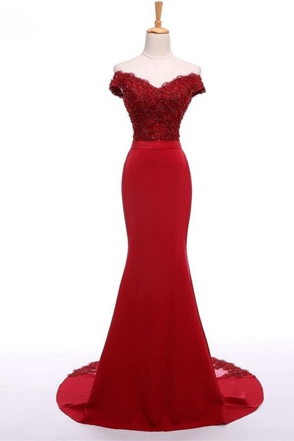 Sexy Off Shoulder Prom Dress, Red Prom Dresses,Long Evening Dress,Beaded Evening Prom Dresses by fancygirldress, $150.00 USD