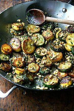 sautéed zucchini with mint, basil, and pine nuts