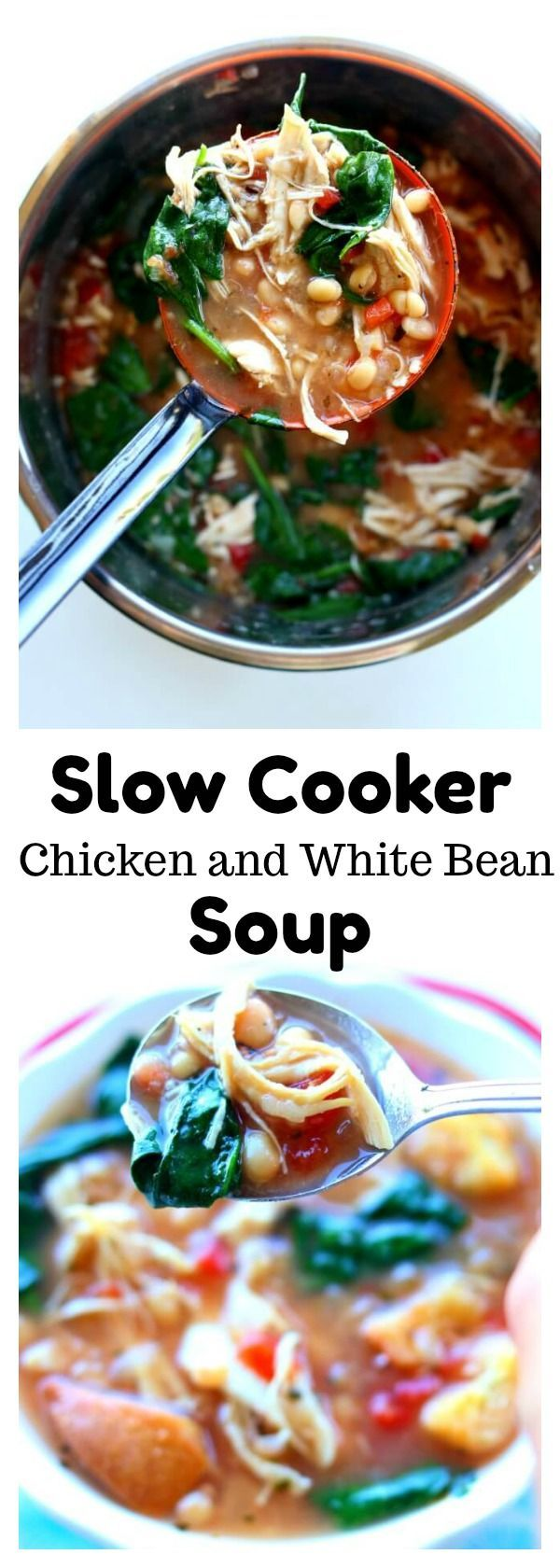 Slow Cooker Chicken White Bean Spinach Soup–a healthy and easy slow cooker recipe for any night of the week. Shredded white meat chicken is enveloped in a flavorful broth and surrounded by lightly seasoned white beans, petite diced tomatoes and fresh spinach. @SWBeans #SWBeans #IC #ad