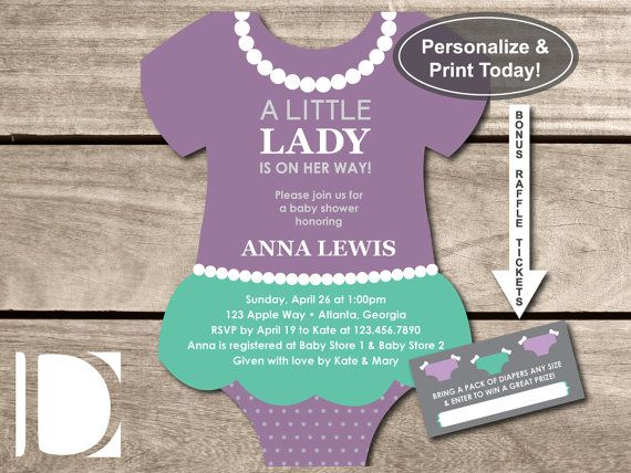 little lady baby shower invitation onesie invitation pearls skirt purple teal lavendar selfediting pdf invite bonus raffle tickets
