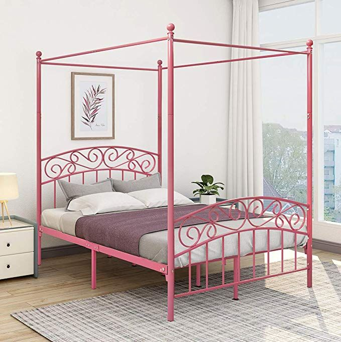 Jurmerry Full Size Metal Canopy Bed Frame With Ornate European