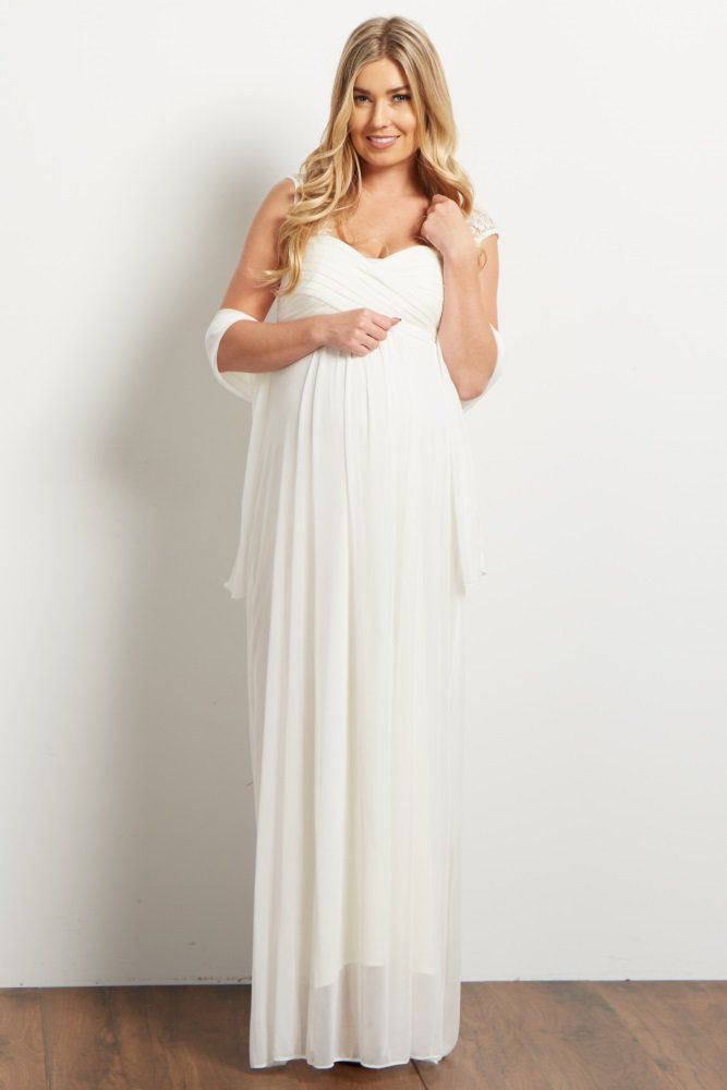 48cecc9a957 A chiffon maternity evening gown. Lace accent on sleeves and back. Pleated  cinched bust. Double lined to prevent sheerness. Button closure on back  neckline.