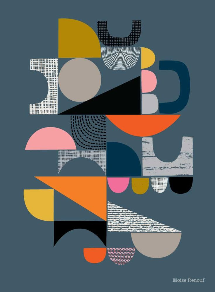 Bits And Pieces Grey, open edition giclee print by EloiseRenouf on Etsy