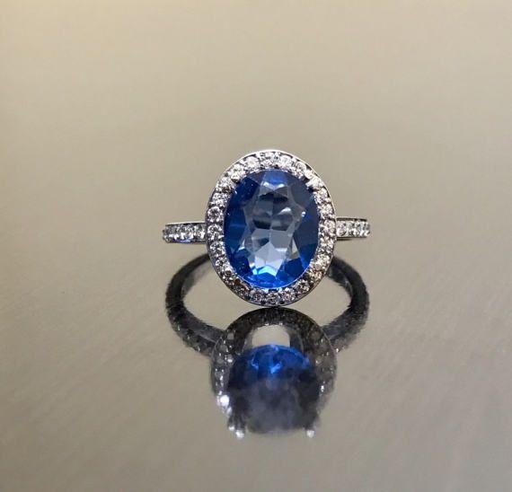 14K White Gold Halo Diamond London Blue Topaz Engagement Ring