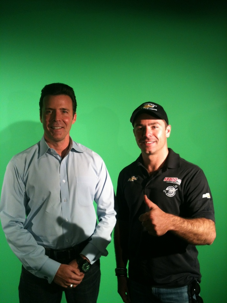 On the set with Indy Car Driver Oriol Servia