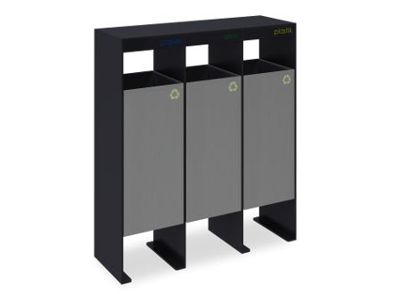Metal recycling bins for paper, plastic and glass