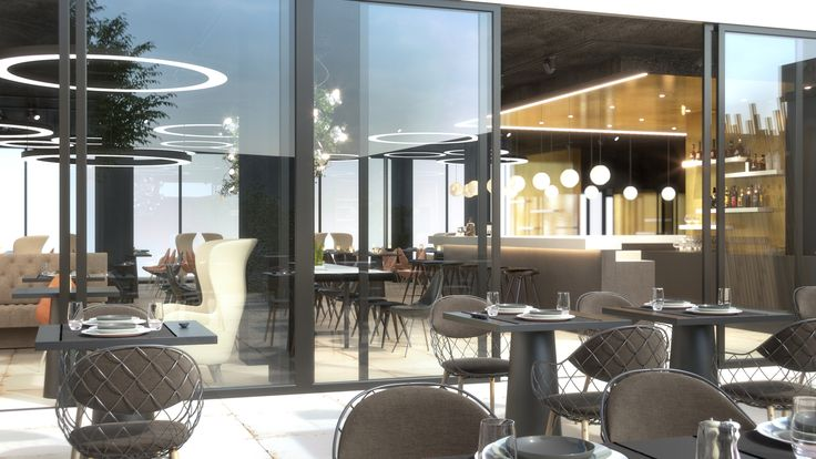 Rendering of multi functional space in hotel Mooons in Vienna. Restaurant, lobby and working space.