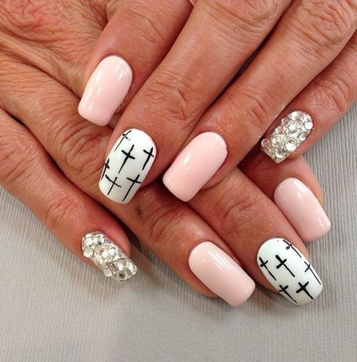 pink and white nail design - 85 Best Uñas Images On Pinterest Cross Nail Designs, Nail Nail