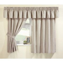 Traditional Natural And White Gingham Kitchen Curtain Set, Includes Tie  Backs And Pelmet