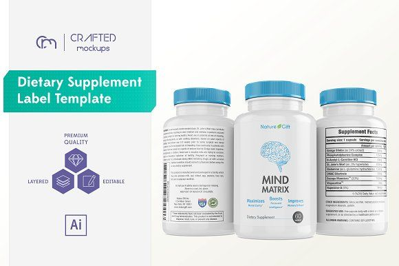 Dietary Supplement Label Template by Crafted Mockups on @creativemarket