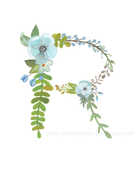 R Floral Letter Print by Makewells on Etsy