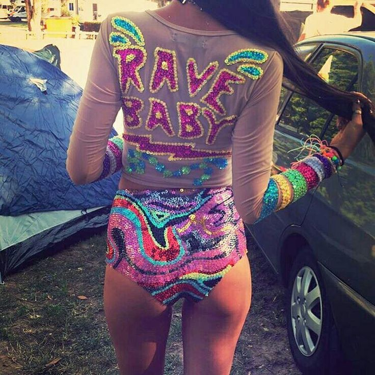 Sequin Rave Festival top and bottom set