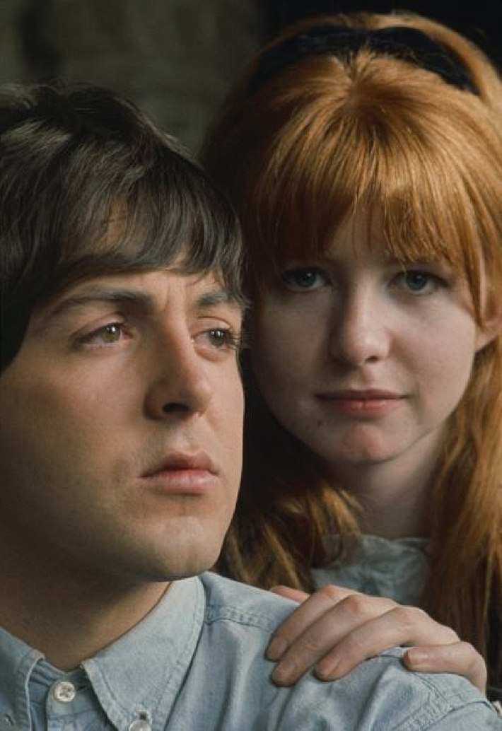 ♡♥Paul McCartney with Jane Asher while Paul was filming the Beatles movie 'HELP!' in 1965♥♡They never married, however they were engaged when she came home to find him in bed with another woman, and broke off the engagement, and left him. (the other woman was NOT Linda-whom he married shortly after their breakup- a yr or two later).