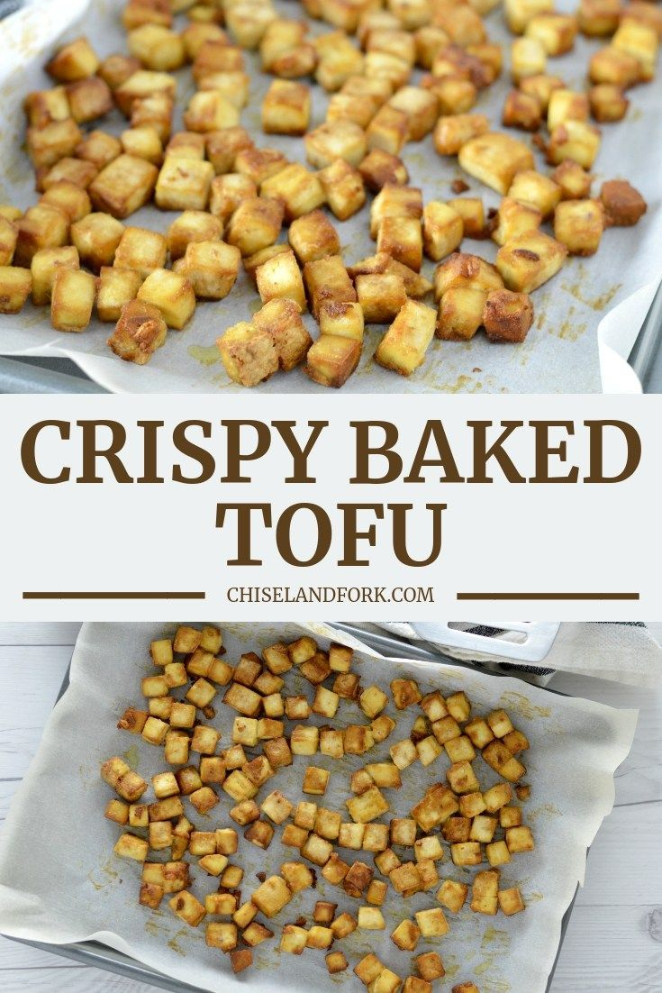 By Using Cornstarch And Baking For 30 40 Minutes This Crispy Baked Tofu Is In Fact Crispy And Is A Great Op Vegan Fast Food Baked Tofu Vegan Fast Food Options