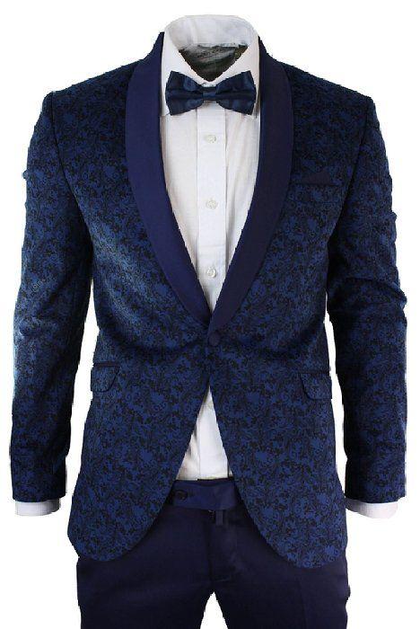 Mens Slim Fit Velvet Paisley Blazer & Trouser Tuxedo Dinner Suit Blue Satin Trim