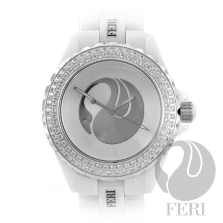 Feri Ada.this flagship piece is of high-tech ceramic construction surrounded by gorgeous genuine AAA Cubic Zirconia. This masterpiece is shielded by a scratch resistant sapphire crystal face for lasting beauty. This FERI beauty comes with a Swiss premium movement and is scratch resistant. This watch is truly one of the finest watches in the world and comes with one of the worlds best 3 year limited manufacturers warranty.