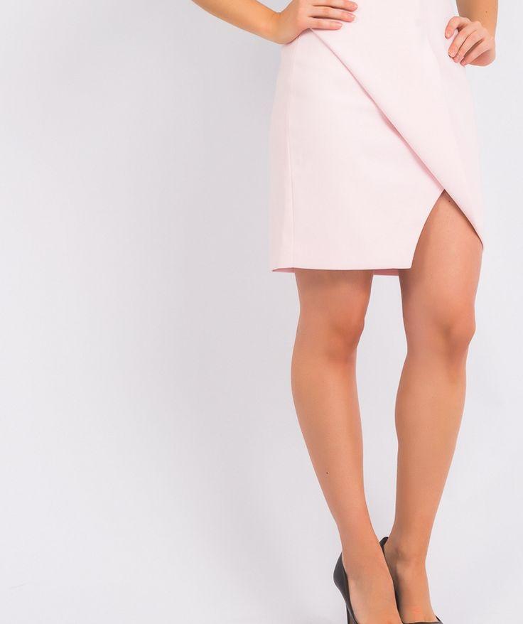 Falda cruzada rosa palo, sofisticada y elegante