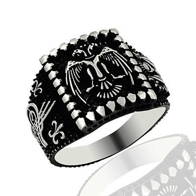 Beelogold - 925K Sterling Silver Double Head Eagle Men Ring