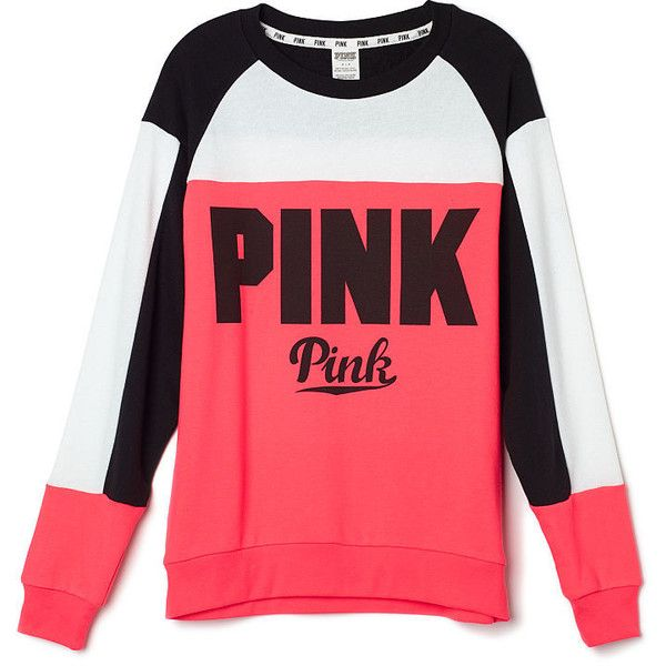 Collegiate Crew PINK ($55) ❤ liked on Polyvore featuring tops, t-shirts, shirts, victoria's secret, crew tee, red t shirt, red tee i victoria secret t shirts